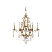 Capital Lighting Blakely 6 Light Chandelier in Antique Gold with Painted Crystals 4186AG-PC