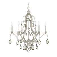 Capital Lighting Blakely 6 Light Chandelier in Antique Silver with Clear and Antique Crystals 4186AS-PC