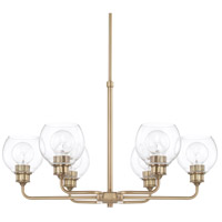 Capital Lighting 421161AD-426 Mid Century 6 Light 30 inch Aged Brass Chandelier Ceiling Light