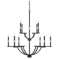 Cole 10 Light 36 inch Aged Brass and Old Bronze Chandelier Ceiling Light