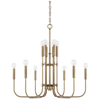 Capital Lighting 421904AD Zander 12 Light 28 inch Aged Brass Chandelier Ceiling Light