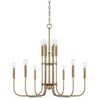 Capital Lighting 421904AD Zander 12 Light 28 inch Aged Brass Chandelier Ceiling Light