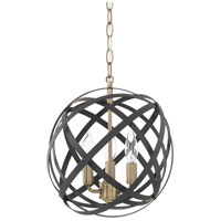 Axis 3 Light 13 inch Aged Brass and Black Pendant Ceiling Light