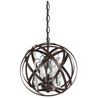 Capital Lighting Axis 3 Light Pendant in Russet with Crystals 4233RS-CR