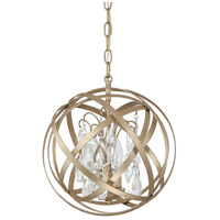 Capital Lighting Axis 3 Light Pendant in Winter Gold with Crystals 4233WG-CR