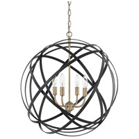 Axis 4 Light 23 inch Aged Brass and Black Pendant Ceiling Light