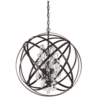 Capital Lighting Axis 4 Light Pendant in Russet with Crystals 4234RS-CR