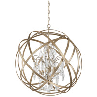 Capital Lighting Axis 4 Light Pendant in Winter Gold with Crystals 4234WG-CR