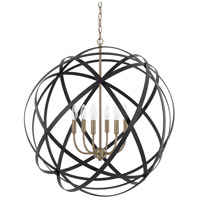 Axis 6 Light 30 inch Aged Brass and Black Pendant Ceiling Light