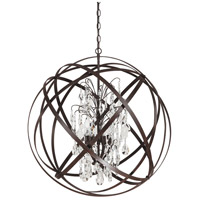 Capital Lighting Axis 6 Light Pendant in Russet with Crystals 4236RS-CR