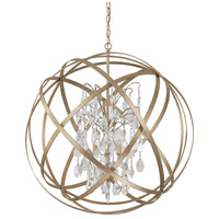 Capital Lighting Axis 6 Light Pendant in Winter Gold with Crystals 4236WG-CR