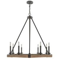 Signature 8 Light 28 inch Iron and Wood Chandelier Ceiling Light