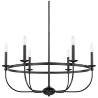 Rylann 6 Light 30 inch Matte Black Chandelier Ceiling Light