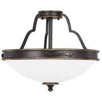 Wyatt 3 Light 17 inch Surrey Semi-Flush Ceiling Light