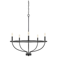 Capital Lighting 428551MB Greyson 5 Light 29 inch Matte Black Chandelier Ceiling Light, HomePlace