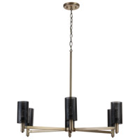 Capital Lighting 431261AB Dax 6 Light 33 inch Aged Brass and Black Chandelier Ceiling Light