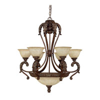 Capital Lighting Monarch 9 Light Chandelier in Gilded Bronze with Rust Scavo Glass 4313GB-260 photo thumbnail