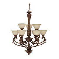 Capital Lighting Monarch 9 Light Chandelier in Gilded Bronze with Rust Scavo Glass 4323GB-260