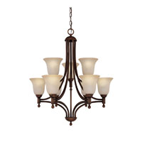 Capital Lighting Metropolitan 9 Light Fluorescent Chandelier in Burnished Bronze with Mist Scavo Glass 4359BB-252-GU