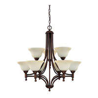 Capital Lighting Metropolitan 9 Light Chandelier in Burnished Bronze with Mist Scavo Glass 4359BB-257 photo thumbnail