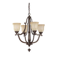 Capital Lighting Corday 4 Light Chandelier in Rustic with Candlelight Glass 4374RT-121
