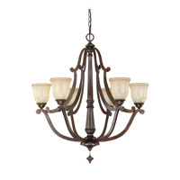 Capital Lighting Corday 6 Light Chandelier in Rustic with Candlelight Glass 4376RT-121