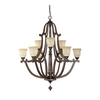 Capital Lighting Corday 9 Light Chandelier in Rustic with Candlelight Glass 4379RT-121
