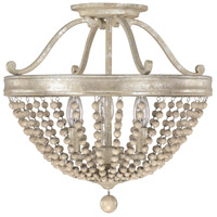 Adele 3 Light 16 inch Silver Quartz Semi-Flush Ceiling Light