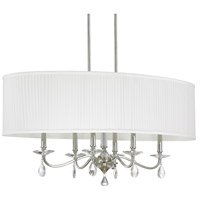 Capital Lighting Alisa 6 Light Island in Polished Nickel with White Fabric Pleated Shade with Clear Crystals 4487PN-621