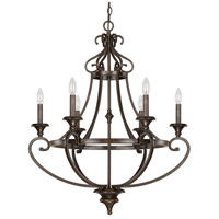Maxwell 6 Light 28 inch Chesterfield Brown Chandelier Ceiling Light