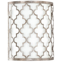 Capital Lighting Ellis 2 Light Sconce in Antique Silver with White Fabric Shade 4546AS-566