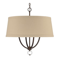Taylor 4 Light 24 inch Burnished Bronze Pendant Ceiling Light in Light Tan Fabric Shade