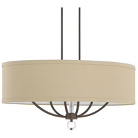 Taylor 6 Light 38 inch Burnished Bronze Island Ceiling Light in Beige Fabric Shade