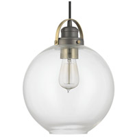 Signature 1 Light 10 inch Graphite with Aged Brass Mini-Pendant Ceiling Light