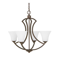 Capital Lighting Sydney 4 Light Chandelier in Burnished Bronze with Soft White Glass 4697BB-145