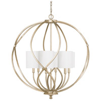 Bailey 6 Light 32 inch Winter Gold Pendant Ceiling Light in White Fabric Shade