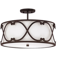 Capital Lighting Alexander 3 Light Semi-Flush in Burnished Bronze with White Fabric Shade 4743BB-610