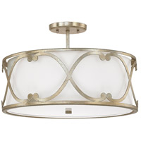 Capital Lighting Alexander 3 Light Semi-Flush in Winter Gold with White Fabric Shade 4743WG-610