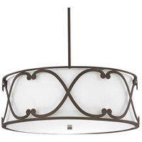 Capital Lighting Alexander 4 Light Pendant in Burnished Bronze with White Fabric Shade 4744BB-611