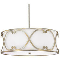 Capital Lighting Alexander 4 Light Pendant in Winter Gold with White Fabric Shade 4744WG-611