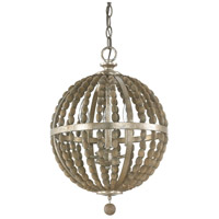 Lowell 3 Light 14 inch Tuscan Bronze with Wood Beads Pendant Ceiling Light