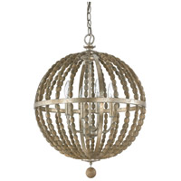 Capital Lighting Lowell 4 Light Pendant in Tuscan Bronze with Wood Beads 4794TZ