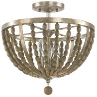 Lowell 3 Light 15 inch Tuscan Bronze with Wood Beads Semi-Flush Ceiling Light