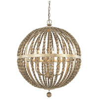 Lowell 6 Light 24 inch Tuscan Bronze with Wood Beads Pendant Ceiling Light