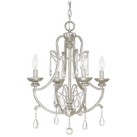 Capital Lighting Signature 4 Light Mini Chandelier in Antique Silver with Clear Crystals 4801AS-CR