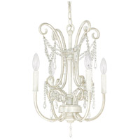 Capital Lighting Signature 4 Light Mini Chandelier in French White with Clear Crystals 4802FW-CR