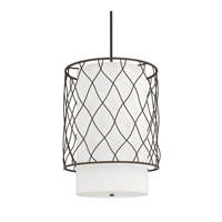 Capital Lighting Sawyer 3 Light Pendant in Burnished Bronze with White Fabric Shade 4832BB-615
