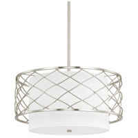 Capital Lighting Sawyer 3 Light Pendant in Brushed Nickel with White Fabric Shade 4833BN-612