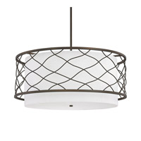 Capital Lighting Sawyer 4 Light Pendant in Burnished Bronze with White Fabric Shade 4835BB-616