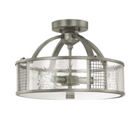 Capital Lighting Davis 3 Light Semi-Flush in Graphite with Antique Glass 4851GR